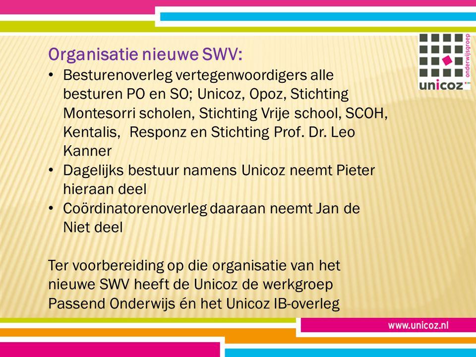 Organisatie nieuwe SWV: Besturenoverleg vertegenwoordigers alle besturen PO en SO; Unicoz, Opoz, Stichting Montesorri scholen, Stichting Vrije school, SCOH, Kentalis, Responz en Stichting Prof.