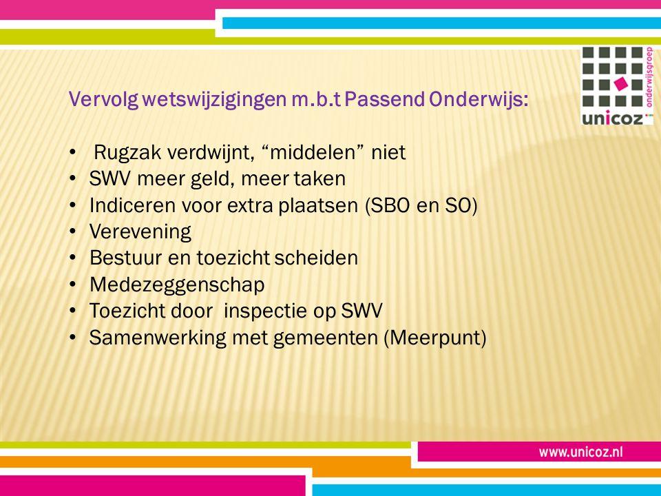 """Vervolg wetswijzigingen m.b.t Passend Onderwijs: Rugzak verdwijnt, """"middelen"""" niet SWV meer geld, meer taken Indiceren voor extra plaatsen (SBO en SO)"""