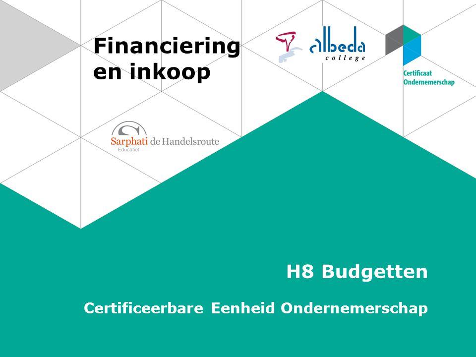 Financiering en inkoop H8 Budgetten Certificeerbare Eenheid Ondernemerschap