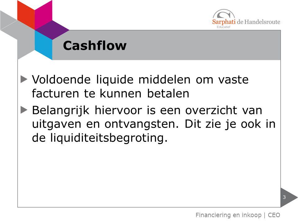 Voldoende liquide middelen om vaste facturen te kunnen betalen Belangrijk hiervoor is een overzicht van uitgaven en ontvangsten.