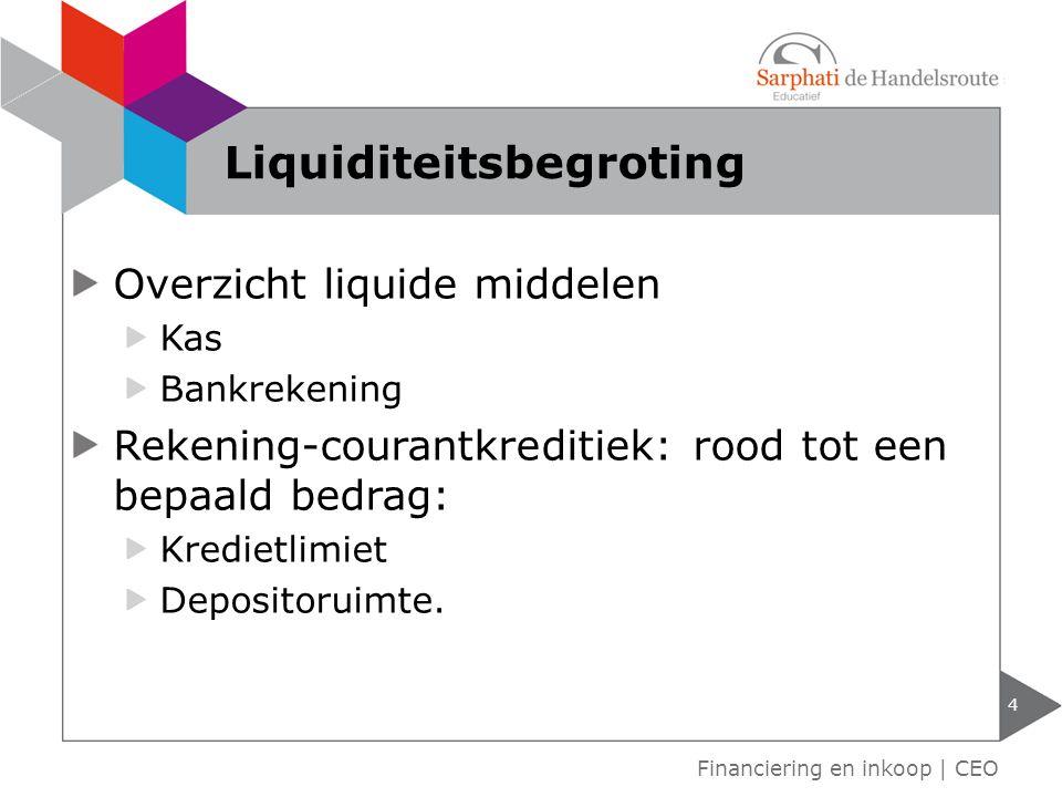 Overzicht liquide middelen Kas Bankrekening Rekening-courantkreditiek: rood tot een bepaald bedrag: Kredietlimiet Depositoruimte.