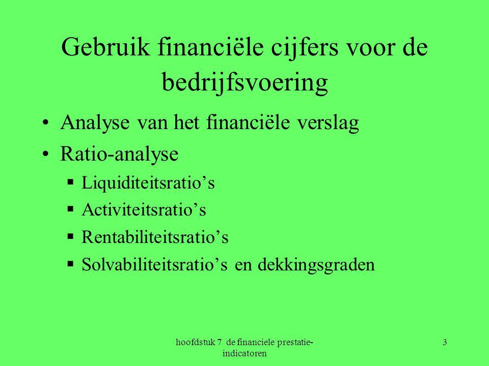 hoofdstuk 7 de financiele prestatie- indicatoren 3 Gebruik financiële cijfers voor de bedrijfsvoering Analyse van het financiële verslag Ratio-analyse  Liquiditeitsratio's  Activiteitsratio's  Rentabiliteitsratio's  Solvabiliteitsratio's en dekkingsgraden