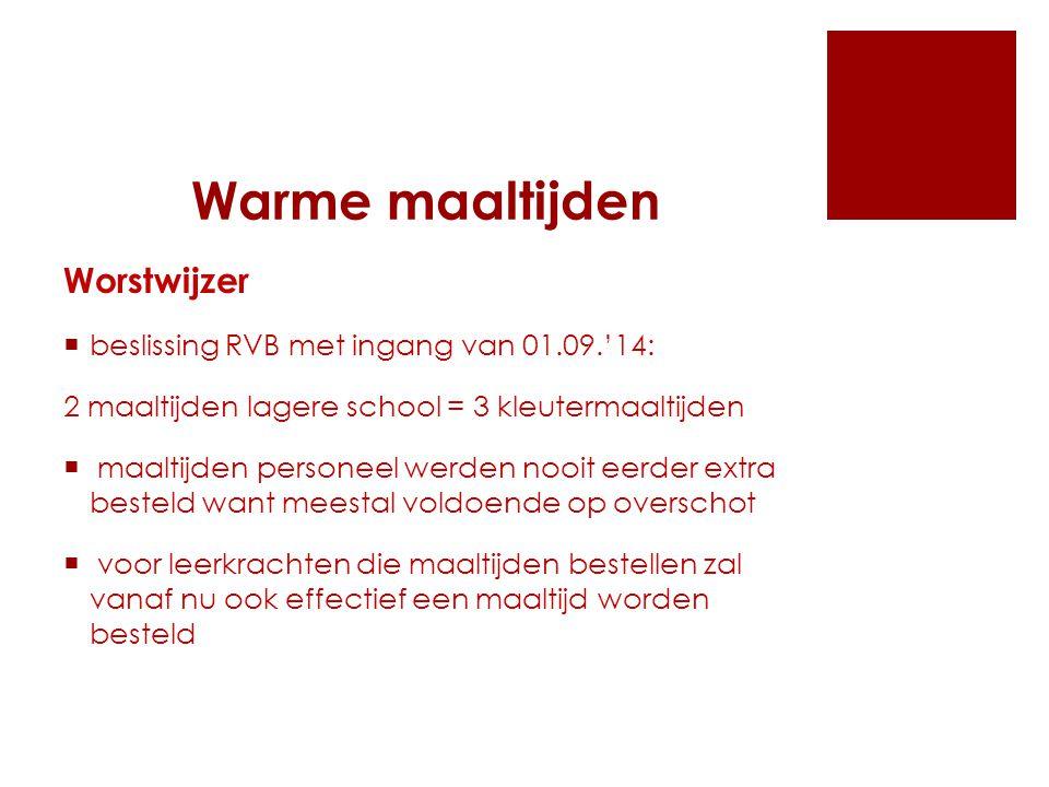 Warme maaltijden  de school kent veel wanbetalers en zal hierop nog strenger toezien en ouders nog sneller uitsluiten om nog warme maaltijden te bestellen  het probleem van de grootte van de braadworsten wordt door de verantwoordelijke van de SGR bij AGAPE aangekaart  er komen onaangekondigde controles om de 'insluipers' die maaltijden genieten zonder reservatie op te sporen en te bestraffen/te ontmoedigen