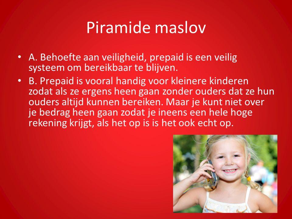 Piramide maslov A. Behoefte aan veiligheid, prepaid is een veilig systeem om bereikbaar te blijven. B. Prepaid is vooral handig voor kleinere kinderen