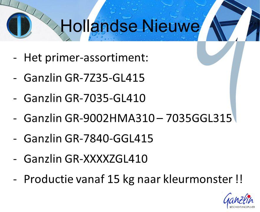 Hollandse Nieuwe -Het primer-assortiment: -Ganzlin GR-7Z35-GL415 -Ganzlin GR-7035-GL410 -Ganzlin GR-9002HMA310 – 7035GGL315 -Ganzlin GR-7840-GGL415 -Ganzlin GR-XXXXZGL410 -Productie vanaf 15 kg naar kleurmonster !!