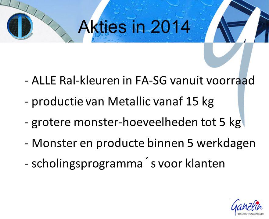 Akties in 2014 - ALLE Ral-kleuren in FA-SG vanuit voorraad - productie van Metallic vanaf 15 kg - grotere monster-hoeveelheden tot 5 kg - Monster en producte binnen 5 werkdagen - scholingsprogramma´s voor klanten