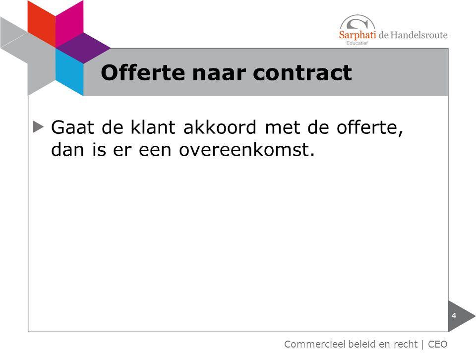 Gaat de klant akkoord met de offerte, dan is er een overeenkomst. 4 Commercieel beleid en recht | CEO Offerte naar contract