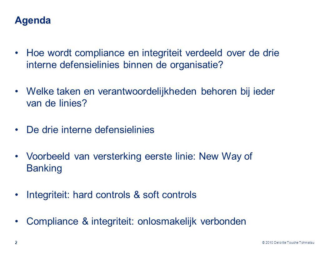 © 2010 Deloitte Touche Tohmatsu Agenda 2 Hoe wordt compliance en integriteit verdeeld over de drie interne defensielinies binnen de organisatie? Welke