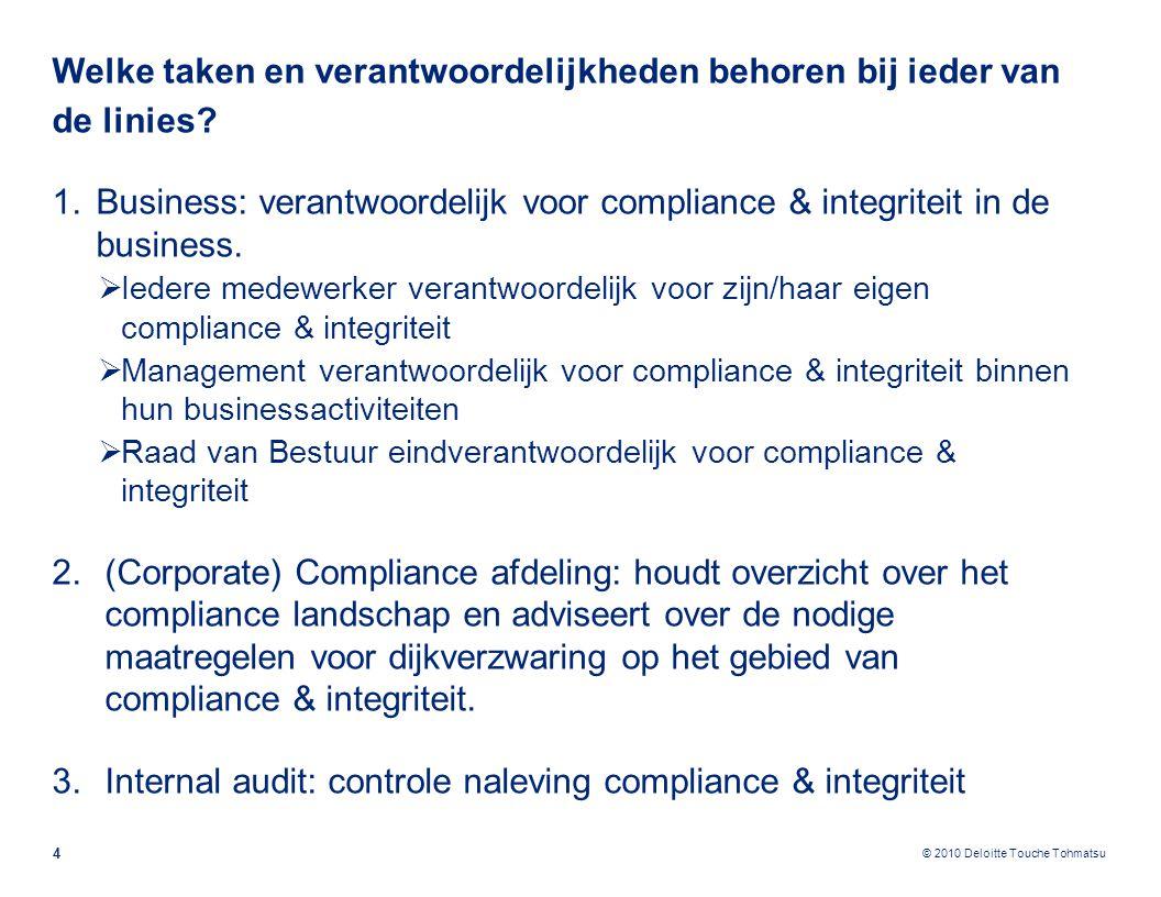 © 2010 Deloitte Touche Tohmatsu Welke taken en verantwoordelijkheden behoren bij ieder van de linies? 4 1.Business: verantwoordelijk voor compliance &
