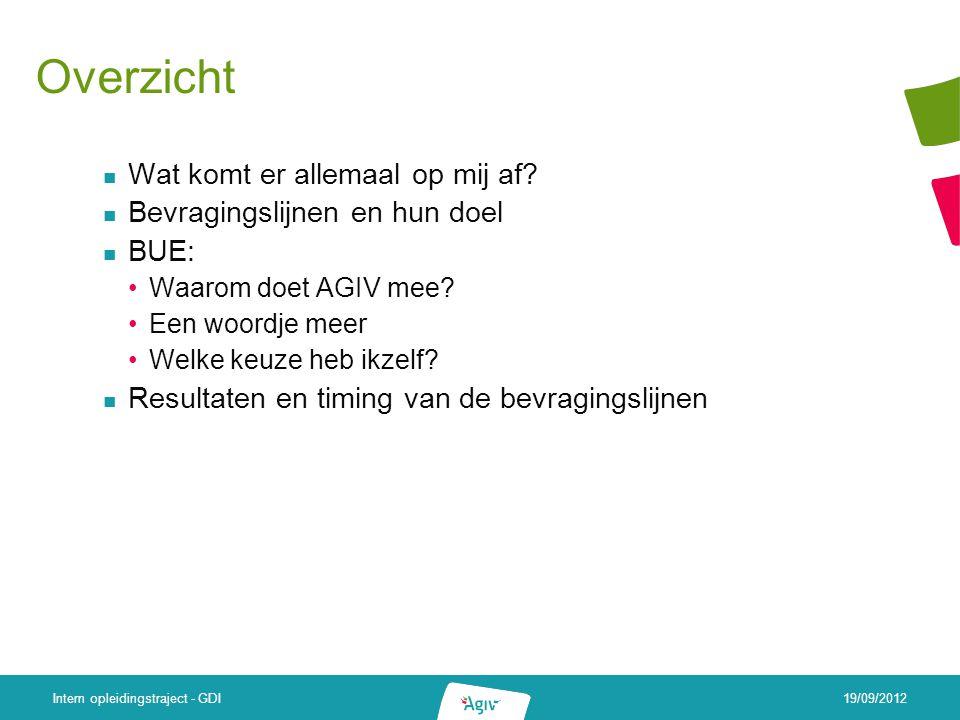 19/09/2012 Intern opleidingstraject - GDI Overzicht Wat komt er allemaal op mij af.