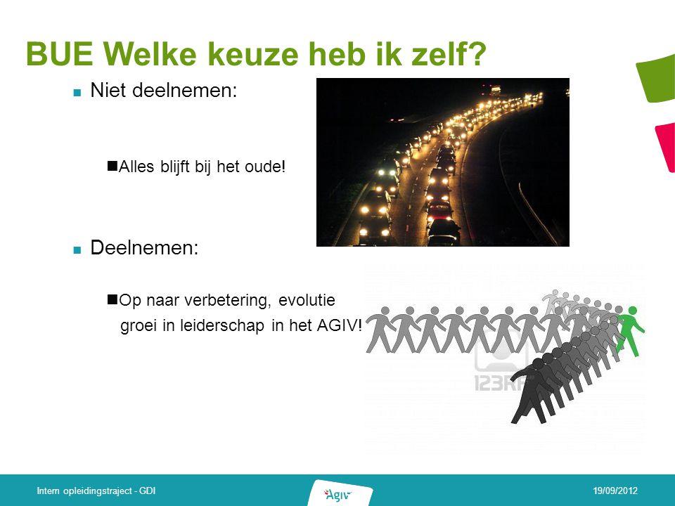Resultaten en timing van de bevragingslijnen 19/09/2012 Intern opleidingstraject - GDI Kantelings- gesprekken Personeels- peiling BUE Terugkoppeling (thema's/prio's)