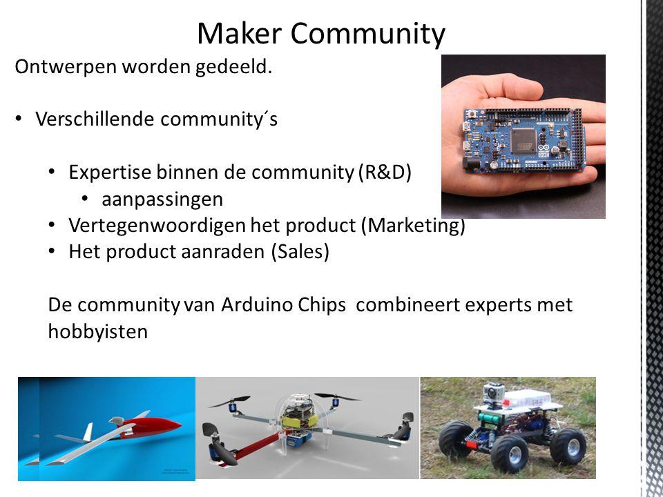 Maker Community Ontwerpen worden gedeeld.