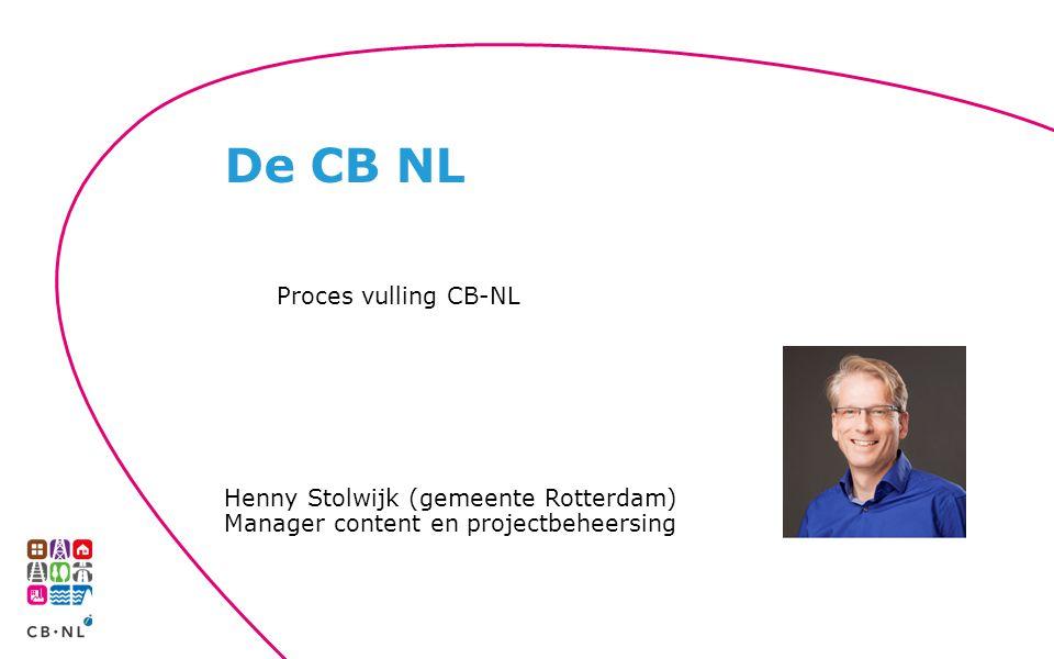 Proces vulling CB-NL Henny Stolwijk (gemeente Rotterdam) Manager content en projectbeheersing De CB NL