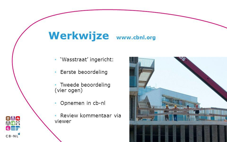 'Wasstraat' ingericht: Eerste beoordeling Tweede beoordeling (vier ogen) Opnemen in cb-nl Review kommentaar via viewer Werkwijze www.cbnl.org