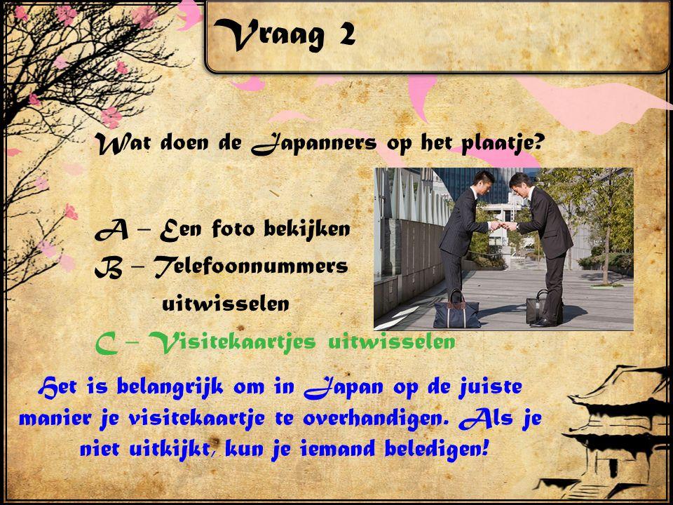 Vraag 2 Wat doen de Japanners op het plaatje.