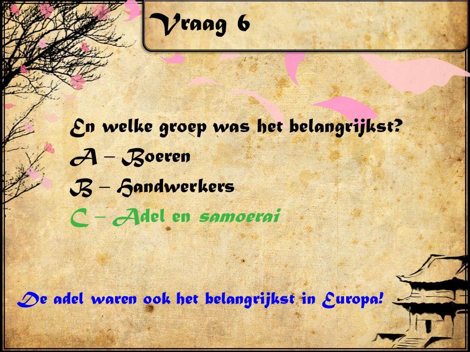 Vraag 6 En welke groep was het belangrijkst.