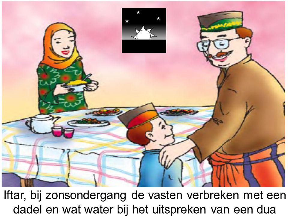 Iftar, bij zonsondergang de vasten verbreken met een dadel en wat water bij het uitspreken van een dua