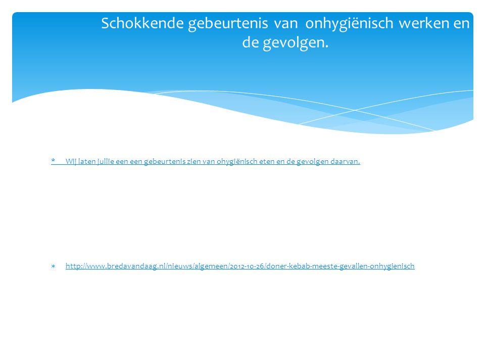* Wij laten jullie een een gebeurtenis zien van ohygiënisch eten en de gevolgen daarvan.  http://www.bredavandaag.nl/nieuws/algemeen/2012-10-26/doner