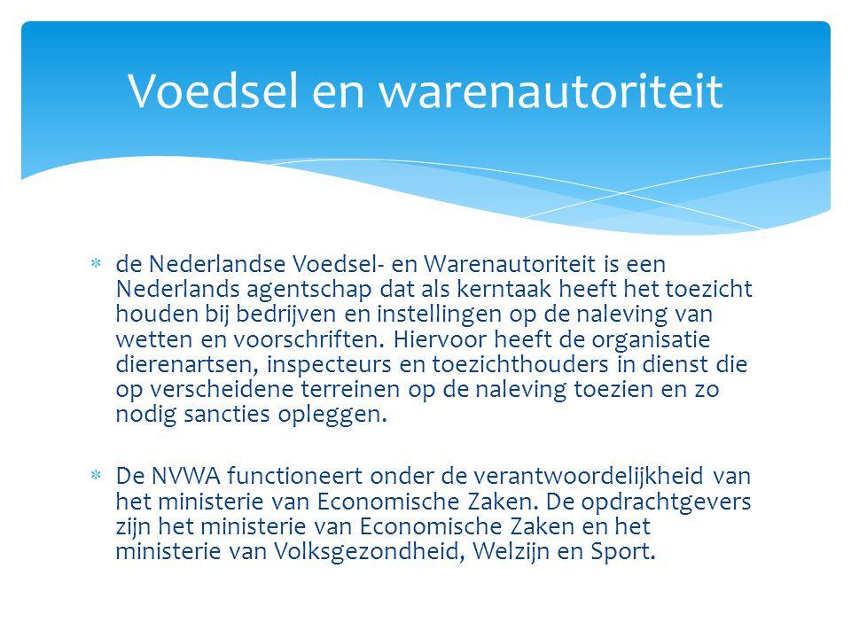  de Nederlandse Voedsel- en Warenautoriteit is een Nederlands agentschap dat als kerntaak heeft het toezicht houden bij bedrijven en instellingen op