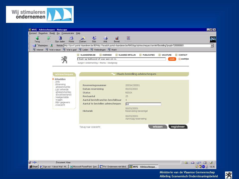Ministerie van de Vlaamse Gemeenschap Afdeling Economisch Ondersteuningsbeleid