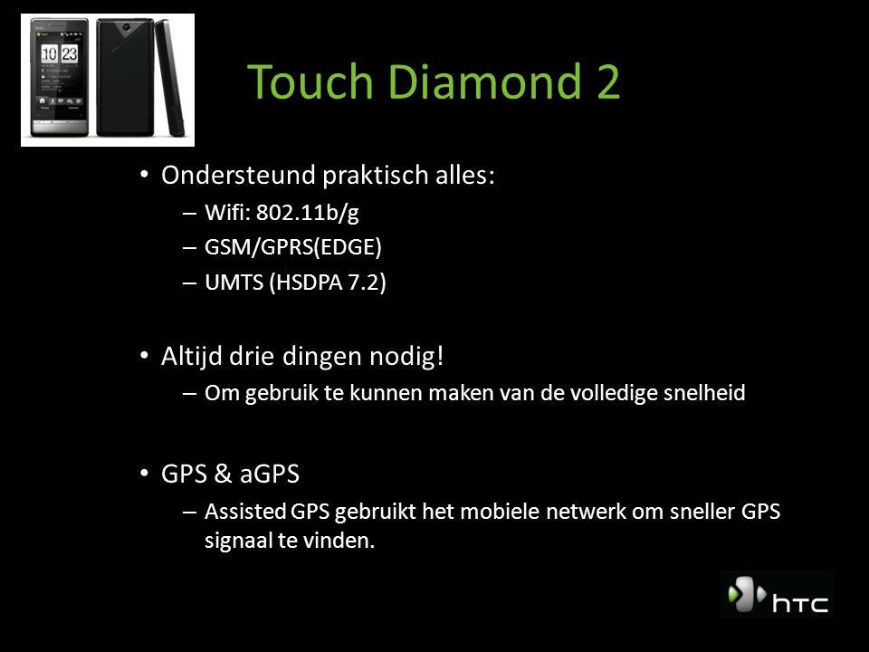 Touch Diamond2 Touch Diamond: Windows Mobile 6.1 Professional – Update naar Windows Mobile 6.5 in September Windows Mobile, kent twee varianten – Windows Mobile professional (met touch screen) – Windows mobile standard (zonder touch screen) Operating systems op andere telefoons: – Proprietary / eigen OS (niet onafhankelijk) – Symbian – Android (Google)