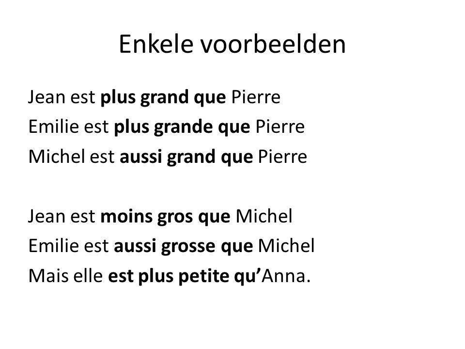 Enkele voorbeelden Jean est plus grand que Pierre Emilie est plus grande que Pierre Michel est aussi grand que Pierre Jean est moins gros que Michel E