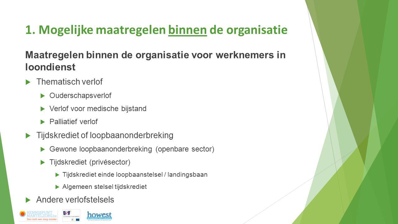 1. Mogelijke maatregelen binnen de organisatie Maatregelen binnen de organisatie voor werknemers in loondienst  Thematisch verlof  Ouderschapsverlof