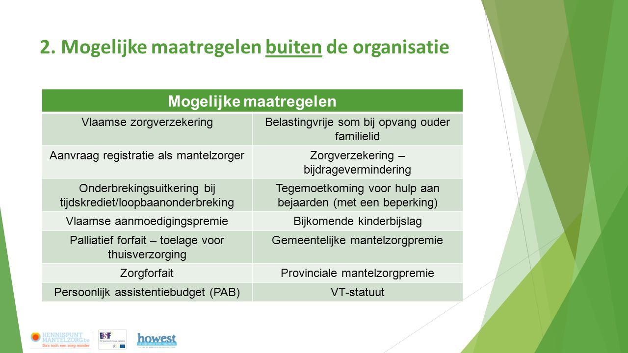 2. Mogelijke maatregelen buiten de organisatie Mogelijke maatregelen Vlaamse zorgverzekeringBelastingvrije som bij opvang ouder familielid Aanvraag re