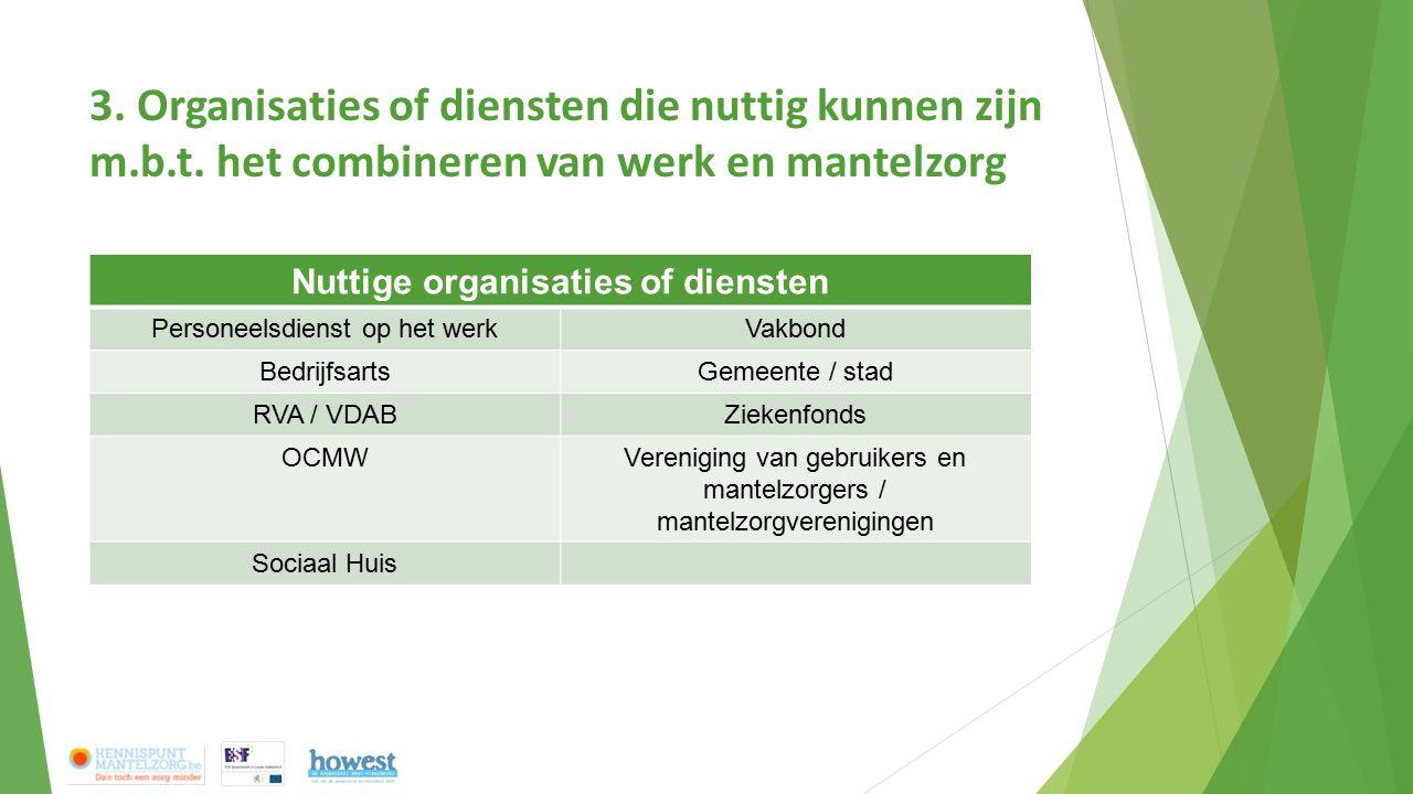 3. Organisaties of diensten die nuttig kunnen zijn m.b.t. het combineren van werk en mantelzorg Nuttige organisaties of diensten Personeelsdienst op h