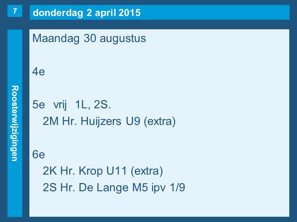 donderdag 2 april 2015 Roosterwijzigingen Maandag 30 augustus 4e 5evrij1L, 2S. 2M Hr. Huijzers U9 (extra) 6e 2K Hr. Krop U11 (extra) 2S Hr. De Lange M