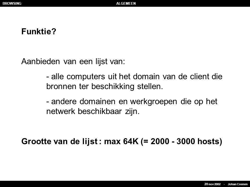 20 nov 2002 - Johan Coenen BROWSINGALGEMEEN Funktie? Aanbieden van een lijst van: - alle computers uit het domain van de client die bronnen ter beschi