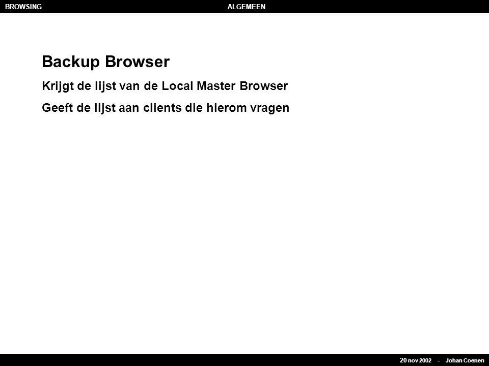 20 nov 2002 - Johan Coenen BROWSINGALGEMEEN Backup Browser Krijgt de lijst van de Local Master Browser Geeft de lijst aan clients die hierom vragen