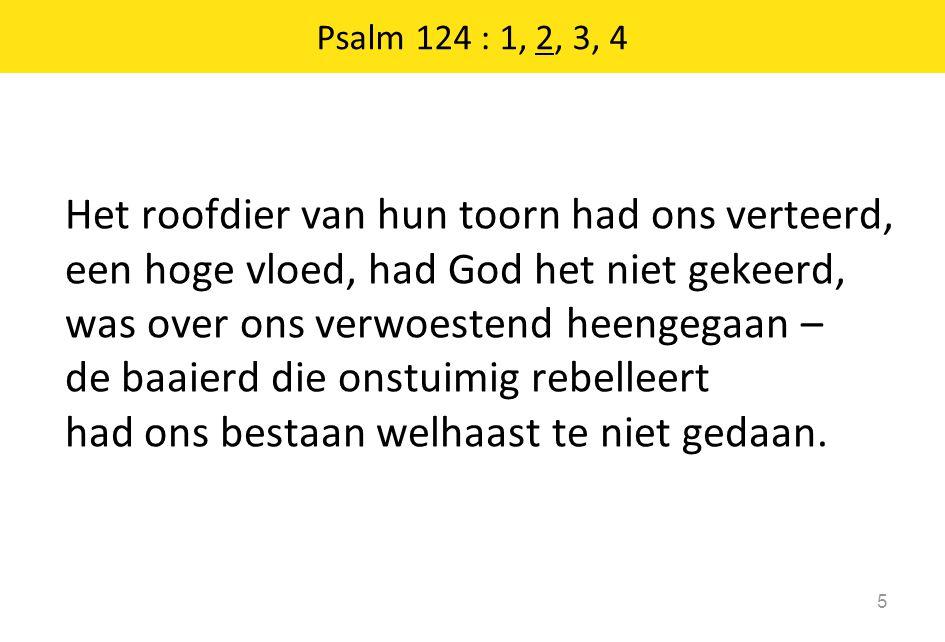 Het roofdier van hun toorn had ons verteerd, een hoge vloed, had God het niet gekeerd, was over ons verwoestend heengegaan – de baaierd die onstuimig rebelleert had ons bestaan welhaast te niet gedaan.