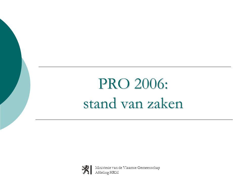 Ministerie van de Vlaamse Gemeenschap Afdeling HRM PRO 2006: stand van zaken