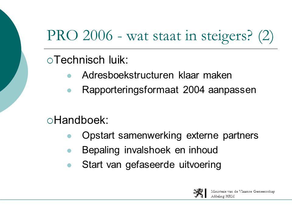 Ministerie van de Vlaamse Gemeenschap Afdeling HRM PRO 2006 - wat staat in steigers.