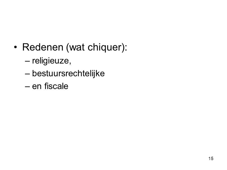 Redenen (wat chiquer): –religieuze, –bestuursrechtelijke –en fiscale 15
