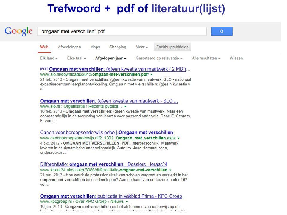 Trefwoord + pdf of literatuur(lijst)