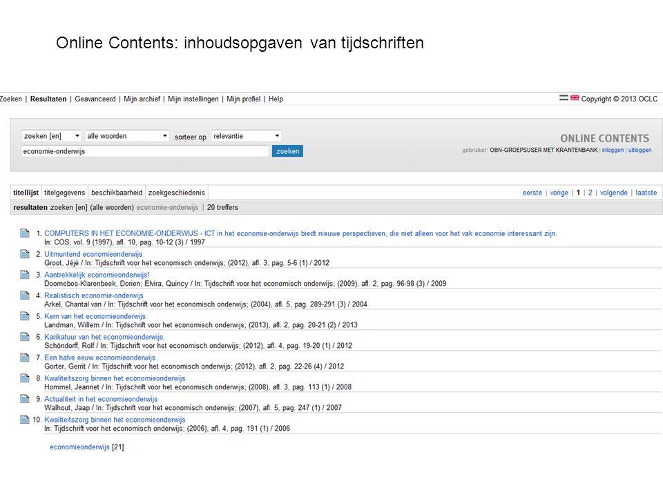 Online Contents: inhoudsopgaven van tijdschriften