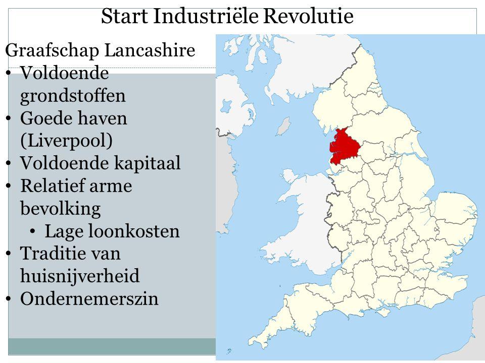 Start Industriële Revolutie Graafschap Lancashire Voldoende grondstoffen Goede haven (Liverpool) Voldoende kapitaal Relatief arme bevolking Lage loonk