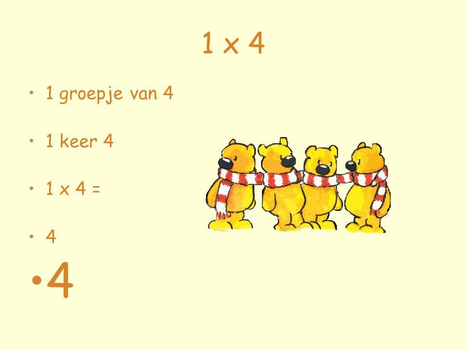 1 x 4 1 groepje van 4 1 keer 4 1 x 4 = 4 4
