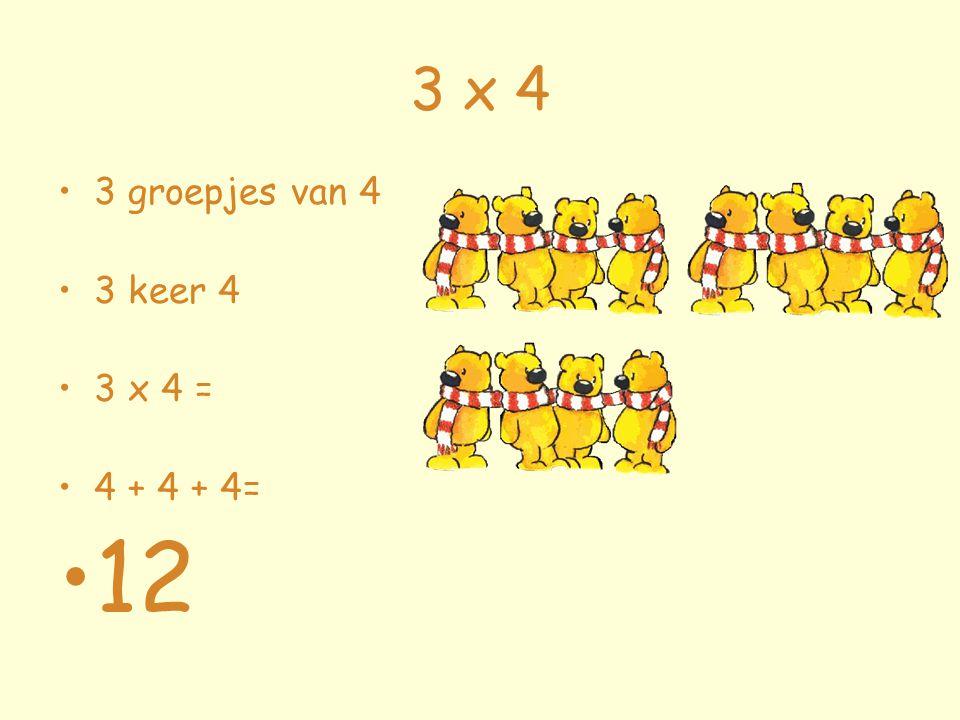 3 x 4 3 groepjes van 4 3 keer 4 3 x 4 = 4 + 4 + 4= 12