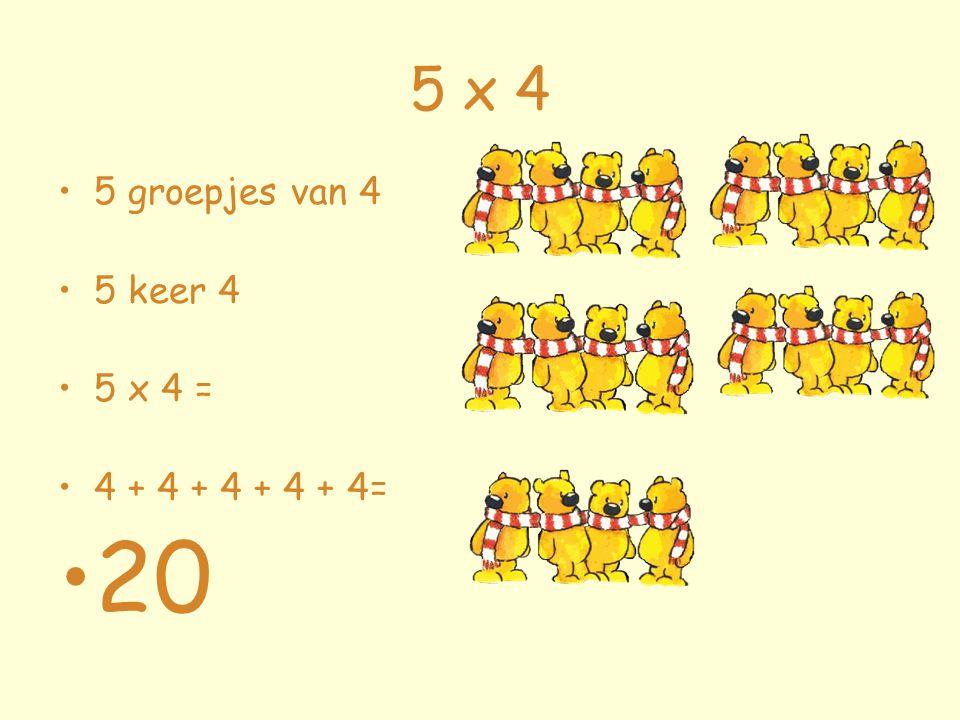 5 x 4 5 groepjes van 4 5 keer 4 5 x 4 = 4 + 4 + 4 + 4 + 4= 20