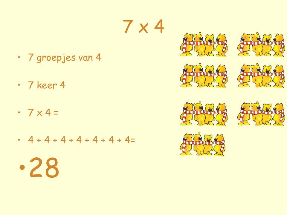 7 x 4 7 groepjes van 4 7 keer 4 7 x 4 = 4 + 4 + 4 + 4 + 4 + 4 + 4= 28