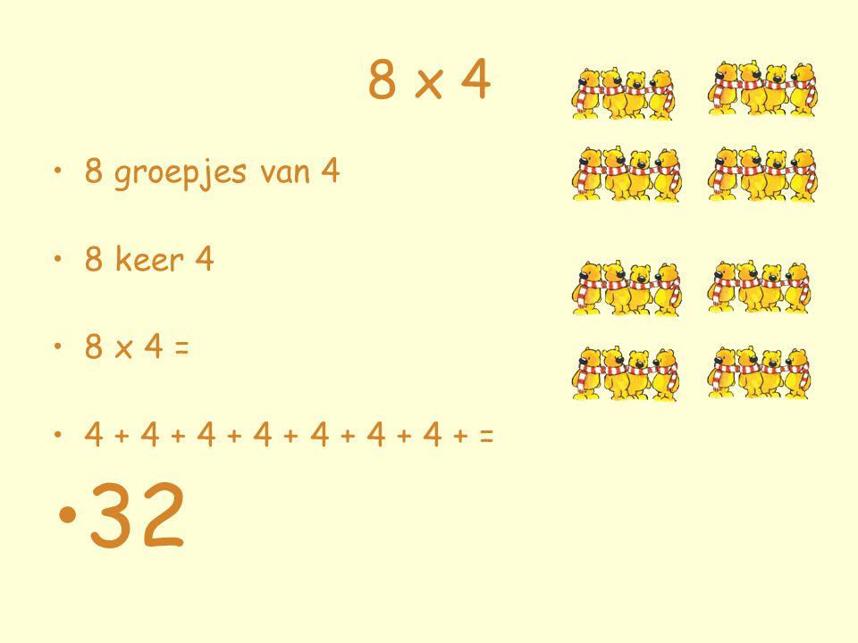 8 x 4 8 groepjes van 4 8 keer 4 8 x 4 = 4 + 4 + 4 + 4 + 4 + 4 + 4 + = 32