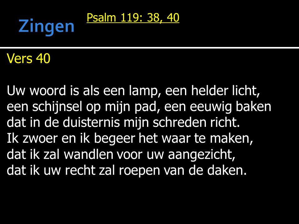 Psalm 119: 38, 40 Vers 40 Uw woord is als een lamp, een helder licht, een schijnsel op mijn pad, een eeuwig baken dat in de duisternis mijn schreden richt.