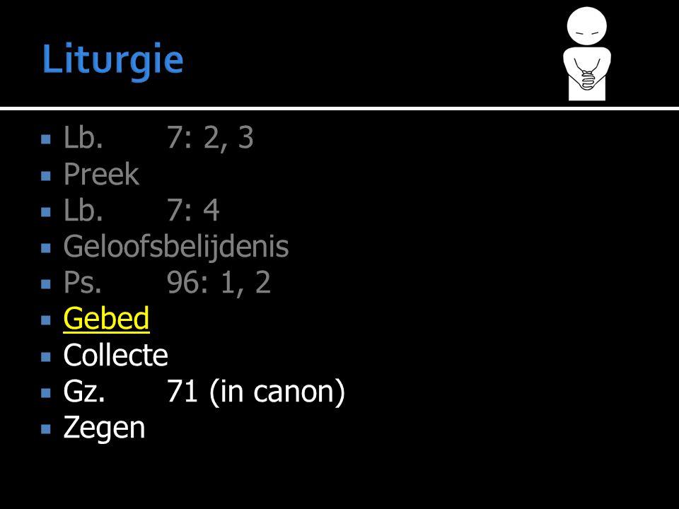  Lb. 7: 2, 3  Preek  Lb.7: 4  Geloofsbelijdenis  Ps. 96: 1, 2  Gebed  Collecte  Gz.71 (in canon)  Zegen