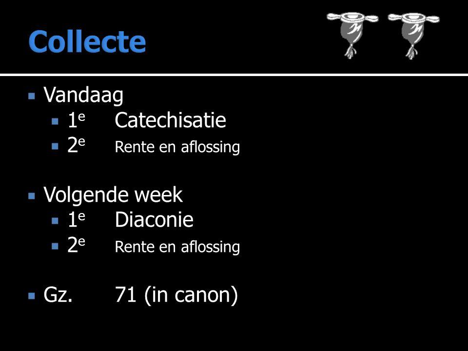  Vandaag  1 e Catechisatie  2 e Rente en aflossing  Volgende week  1 e Diaconie  2 e Rente en aflossing  Gz.71 (in canon)