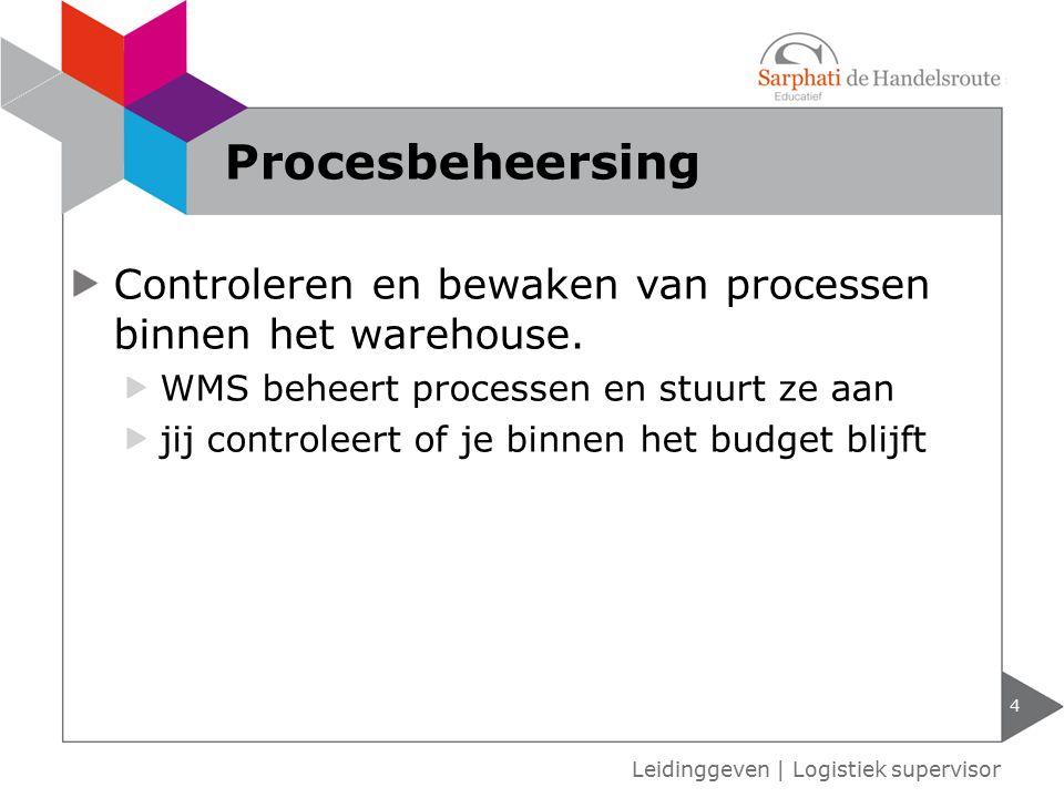 Controleren en bewaken van processen binnen het warehouse. WMS beheert processen en stuurt ze aan jij controleert of je binnen het budget blijft 4 Lei
