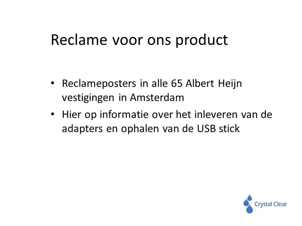 Reclame voor ons product Reclameposters in alle 65 Albert Heijn vestigingen in Amsterdam Hier op informatie over het inleveren van de adapters en ophalen van de USB stick
