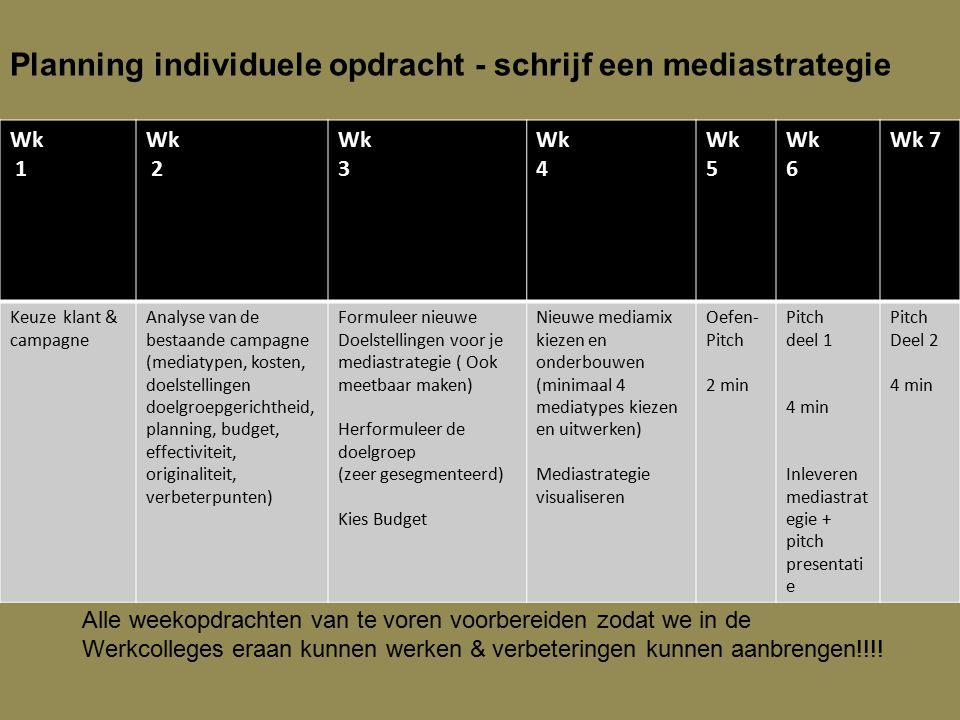 Planning individuele opdracht - schrijf een mediastrategie Wk 1 Wk 2 Wk 3 Wk 4 Wk 5 Wk 6 Wk 7 Keuze klant & campagne Analyse van de bestaande campagne